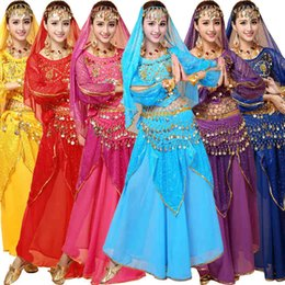 Wholesale Indian Ocean - 4pcs Sets India Egypt Belly Dance Costumes Bollywood Costumes Indian Dress Bellydance Dress Lady Belly Dancing High Quality
