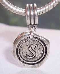 """Wholesale Initial Charms Letter S - MIC 100pcs Antique Silver Single-sided Letter """" S """"Alphabet Initial Charm Dangle Bead for European Style Charm Bracelets 27 x 19 mm"""