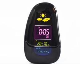 Wholesale Wireless Weather - Creative Wireless Weather Station Clock Pebble LED Alarm Clock Wireless Weather Report