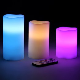 Wholesale pink pillar candles - Battery-powered Flameless LED Candles 12 Changing Colors Waterproof Candle Light with Remote Control & Timer Wedding Christmas Light Gifts