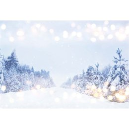 Wholesale Christmas Scenic Backdrops - Merry Christmas Snowflake Photo Background Bokeh Polka Dots Thick Snow Covered Pine Trees Outdoor Winter Scenic Photography Backdrops Vinyl