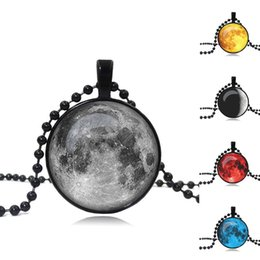 Wholesale Glass Cabochon Beads - Galaxy Planet Pendant Necklace Handcrafted Glass Cabochon Art Image Black Beads Chain Necklace For Women Fine Jewelry
