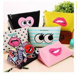 Wholesale Modern Purses - Lip Lady Girls Bags Women Handbags Zipper Storage Bags PU leather Modern Girl Large Capacity Waterproof Makeup Bags Best Gifts Free Shipping