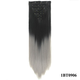 Wholesale Synthetic Clip 16 - 7pcs set 16 Clips Long Straight Blonde Grey Hair Pieces Synthetic Hair Pad Hair Extension Clip in Full Head