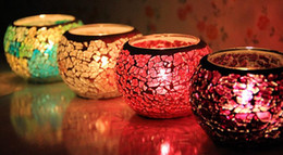 Wholesale Tea Light Glass Cups - Fashion Hot Home Decoration Glass mosaic lantern Candle Holders for KTV bar Wedding Candlestick