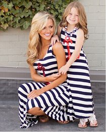 Wholesale Sequin Striped Dress - 2015 summer style Navy striped mother daughter dresses Sequin Anchor sleeveless long dresses fashion Polyester family look clothes 201508HX