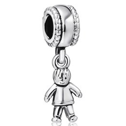 Wholesale Boy Charms Sterling Silver - Cute Little Boy Pendant European Charms Fit For 925 Sterling Silver Snake Chain Bracelet Fashion DIY Jewelry