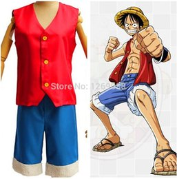 Wholesale Monkey D Luffy Hat - One Piece Luffy Cosplay Costume Monkey D Luffy 1st Generation unisex full set clothes (Vest+Shorts+Straw sandals+Hat)