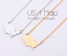 Wholesale Earth Pendant Silver - 10PCS- N017 Outline United States Map Necklace USA Silhouette Map Necklace Geometric America Country Nation Necklace for earth