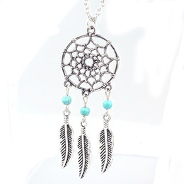 Wholesale Best Deals Wholesale Jewelry - Wholesale-Best Deal Fashion Retro Women Bohemia Tassels Feather Pendant Necklace Jewelry Dream Catcher Pendant Chain Necklace Gift 1PC