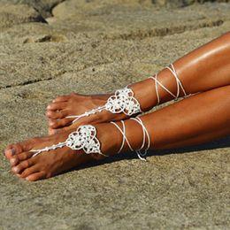 Wholesale wholesale womens heels - Wedding White Crochet Barefoot Sandals, Foot Jewelry, Beach wedding shoes, Bridal Sandals, Toe tong, White Womens Shoes