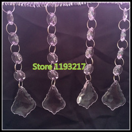 "Wholesale Clear Glass Crystal Garland - 4.7""(12cm) 20""(50cm) Crystal Glass Octagonal Bead Garland Strands Acrylic Drop Pendant Chandelier Hanging Bead Chains Wedding Decor"