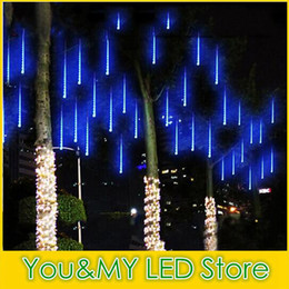 Wholesale Lighted Rain Showers - Edison2011 2017 8PCS Set Snowfall LED Strip Light Christmas Rain Tube Meteor Shower Rain LED Light Tubes 100-240V EU US UK AU Plug