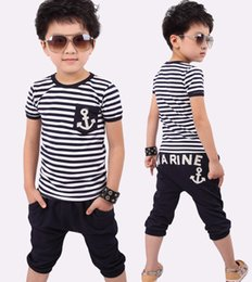 Wholesale Navy Boys Suit - New children's clothing section short-sleeved navy wind stripe suit boys sport suit children suit B001