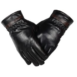 Wholesale Men S Fingerless Leather Gloves - Wholesale-Men\'s leather gloves man Women Screen touch gloves warm winter pu belt buckle casual touchscreen Gloves For Iphone Ipad