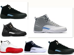 Wholesale Gym Rubber Bands - New 2018 12 XII basketball shoes ovo white Flu Game GS Barons wolf grey Gym red taxi playoffs gamma french blue sneaker