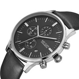 2016 MEGIR бренд хронограф натуральная кожа ремешок золото бизнес часы Кварцевые роскошные спортивные часы мужчины бренд часы от Поставщики спортивные наручные часы megir