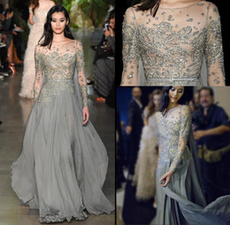 Wholesale Dresse Red - 2018 New Grey A Line Prom Dresses Sheer Long Sleeves Evening Dresses with Beaded Appliques Elegant Red Carpet Dresse 399