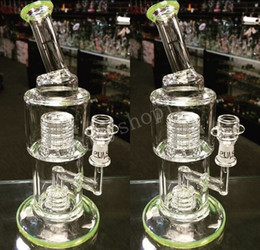 Wholesale Cheap Glass Water Bongs - Heady Green Beaker Bong Bent Neck Water Pipes with Stereo Matrix Perc Classic Bubbler Recycler Oil Rigs Cheap Hookah Free Shipping