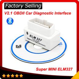 Wholesale Wireless Obd2 - 2016 Newly Design SUPER MINI ELM327 Bluetooth OBD2 V2.1 White Smart Car Diagnostic Interface ELM 327 Wireless Scan Tool free shipping