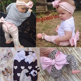 Wholesale Warm Pants For Kids - 2016 Infant Girl INS long pants with big bow Baby girl Spring Autumn 3styles Leggings kids girl sweet warm pants for 1-4T