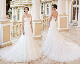 Wholesale Spring Chen - 2014 New Arrival Applique Beaded Garden Wedding Dresses Sweetheart Strapless Button Bridal Gown White Ivory Kitty Chen Wedding Dress