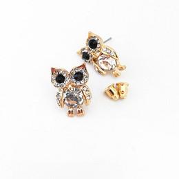 Wholesale Wholesale Cz Earings - Pretty good Owl Earrings Women Fashion Jewelry Cute Stud Earings CZ Female Pop Star Style New Nice Gift Cheap