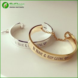 Wholesale Enamel Cloisonne Bangle Bracelets - Free shipping Stainless Steel double color Arrow Gold Be brave and keep going message bracelet engraved fashion bracelet BC-0009