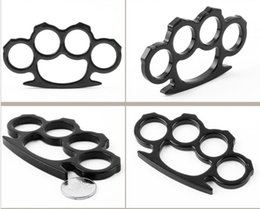 Wholesale Self Defense Brass Knuckles - Shipping 1PCS Silver and Black Thin Steel Brass knuckle dusters,Self Defense Personal Security Women's and Men's self-defense Pendant