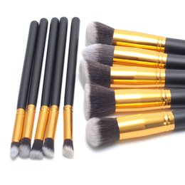 Wholesale Portable Lip Brush - Makeup Brushes Tools Sets 10 pcs Make Up Brushes Set Professional Portable Full Cosmetic Brush Eyeshadow Lip Brush free shipping DHL 60054
