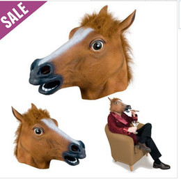 Wholesale Horse Head Mask Wholesale - 2015 New Funny Party Mask   Creepy Horse Mask Head Halloween   Christmas Costume Theater Prop Novelty Latex Rubber good quality