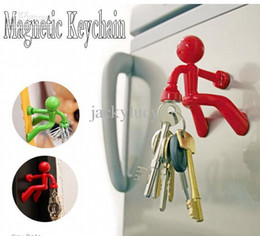 Wholesale Magnetic Fridge Key Holder - Novelty Item Wall Climbing Man Magnetic Key Holder Funny Key Pete Cartoon Keys Hanging Fridge Magnets Home Decor Supplies New Arrival