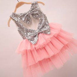 Wholesale Girls Pretty Tops - 2016 Spring Summer Girls Dress Pretty Sequin Big Bowknot Dress Girl Baby Clothes Dress Tops 5pcs lot Pink K6721