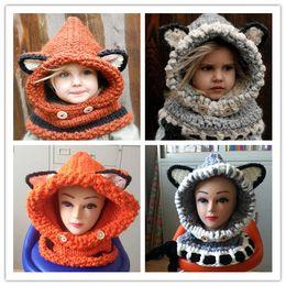 Wholesale Girls Hats Scarves - Lovely Fashion fox cat ear winter windproof hats and scarf set for kids crochet headgear soft warm hat baby winter beanies 1-10 years kids