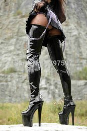 Wholesale Crotch Man - Wholesale-58to85cm shaft length sex fetish Thigh High Boots Round Toe Designer Boots Over The Knee Boots Stiletto Heels Crotch men Boots