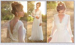 Wholesale Long Sleeve Sequin Dress Xs - Boho Wedding Dress Long Sleeve Beach Chiffon with Lace V Neck Vestidos De Novia Casamento Romantic Bridal Gowns White XS