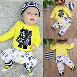 Wholesale Baby Boy Romper 18 Months - Baby Boy Clothes 2018 Newborn Baby Clothing Set Infant Long Sleeve Bear Letter Printed Yellow Romper + Pants + Hat 3Pcs Boys Clothing Set