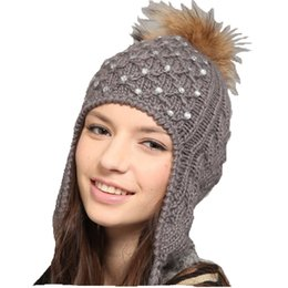 Wholesale New Km Fashion - Wholesale-Free Shipping New Arrival Lady's Fashion Trapper Hat, Hot Hand Knitted Winter Hat For Lady with Pompon KM-1311
