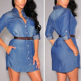 Wholesale Ladies Long Denim Dress - Wholesale-Autumn 2016 Fashion Denim Dresses Ladies Women Casual Long Sleeve Single Breasted Jeans Dress Shirts Plus Size S-XL Vestidos