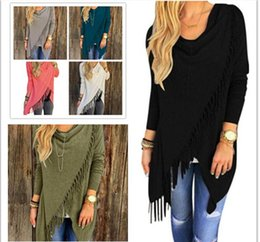 Wholesale Wholesale High Fashion Jackets - High quality wholesale New Women Autumn Casual Jacket Long Sleeve Knitted Tassel Cardigan Loose women designer sweaters Outwear Winter Coats