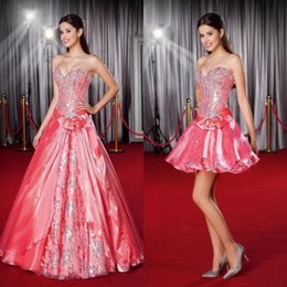 Wholesale Detachable Skirt Quinceanera Dresses - 2016 Two Piece Quinceanera Dresses Hot Sweetheart Top Beaded Silver Crystals With Detachable A line Skirt Fashion Prom Party Gowns