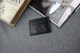 Wholesale Mini Coin Banks - Black Genuine Leather Credit Card Holder Coin Purse High Quality Bank ID Card Case Mini Wallet for Man 2017 New Arrivals Fashion Pocket Bag