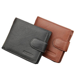 Wholesale Coin Purses Sale - Hot Sale Fashion New Black Brown Men's Wallets Real Leather Short Hasp Zipper Button Credit Card Holder Coin Pocket Purse Wallet