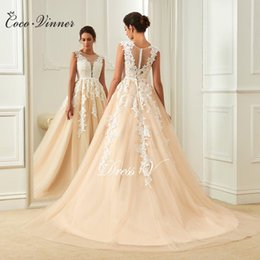 Wholesale Deep V Back Wedding - C.V Deep V neck Lace Applique Champagne Color Sexy Wedding Dresses Illusion Back High Waist Small Belt Sleeveless Bride Formal Dresses W0114