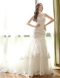Wholesale Sweet Heart Train - 2015 New Collection scoop Mermaid Lace Ivory Wedding Dress Bridal Gown With Sheer Back Lace Jacket Sweet-heart Court Train Buttons lace-up