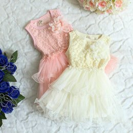 Wholesale Tulle Korean Fashion Floral - Korean summer lace cutout small floral sleeveless multi-layer tulle dress fashion baby girls dresses 4 pcs lot