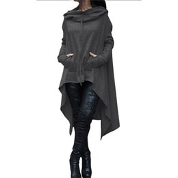Wholesale Polyester Outerwear - Wholesale- Autumn Winter Women Jacket Coat XXXXL 5XL Plus Size Fashion Long Pullover Outerwear Irregular Hoody Collar Clothing Basic Jacket