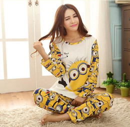 Wholesale Despicable Sleep - 16 years Big Girls Despicable Me Pajamas 100% Cotton Pajamas Sleep Clothes Outfits Big Girl Pajamas Size M L XL