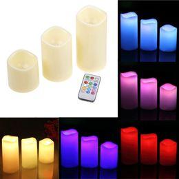 Wholesale pillar sets - Home Decor 3pcs  Set Cylindrical Colorful Remote Control Timed Flameless Led Candle Light Unique #81304