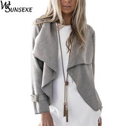 Wholesale Winter Coats Camel Color - Wholesale- Fashion Crop Coat Jacket Outwear Grey Camel Solid Color Women Long Sleeve Turn-down Collar Loose Coat 2017 Autumn Winter Jackets